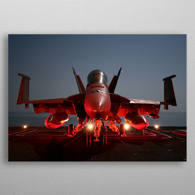 The Boeing F/A-18E and F/A-18F Super Hornet are twin-engine, carrier-capable, multirole fighter aircraft variants.  metal poster