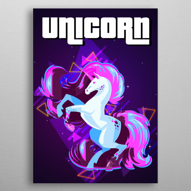 Unicorn  with retro effects metal poster