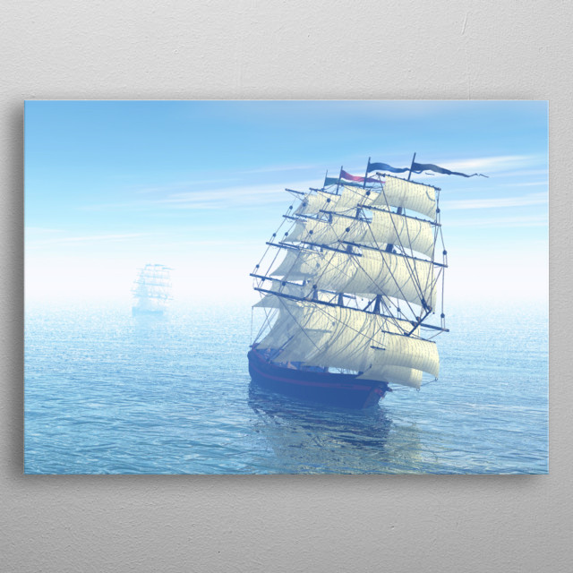 Ships travelling to their destination beautiful seascape  metal poster