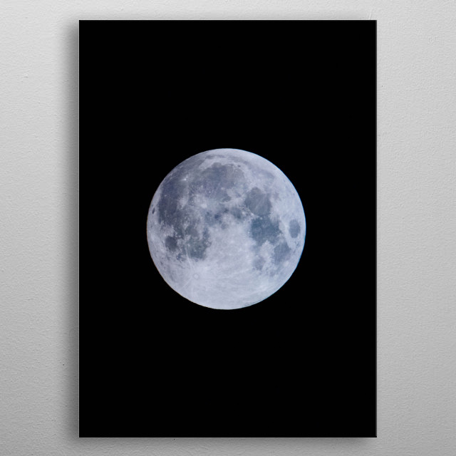 A close up of a bright full moon. metal poster