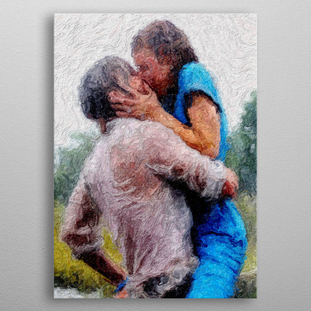 An impressionistic image of a man and a woman in a blue dress passionately kissing. metal poster