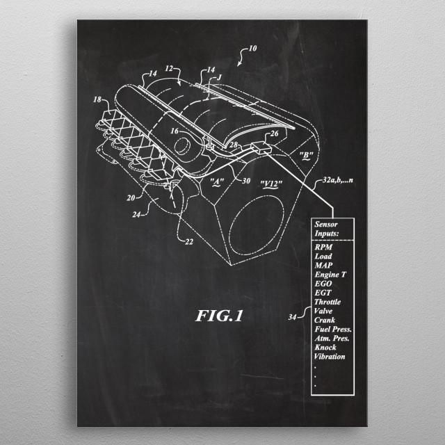 Engine - Patent Drawing metal poster