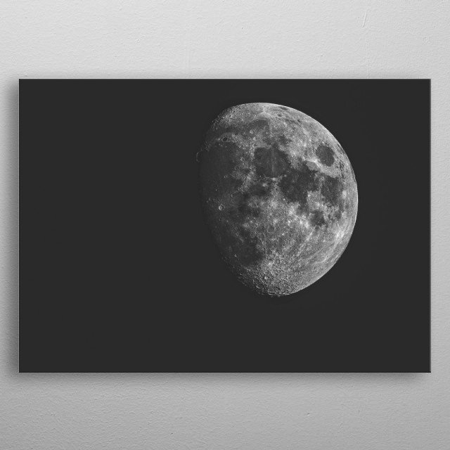 Close up shot of the moon in black and white. metal poster