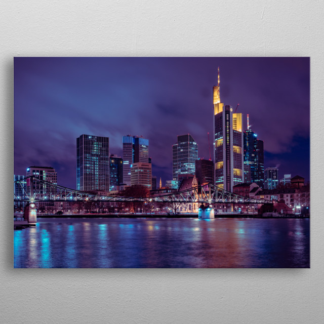 Skyline of the City Frankfurt  metal poster