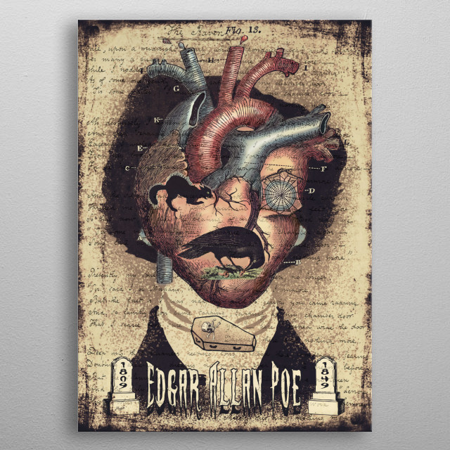 Collage Tribute to Edgar Allan Poe featuring Vintage Illustrations of The Raven, Black Cat, Tell Tale Heart, 1809 and 1849 Cemetery Stones. metal poster