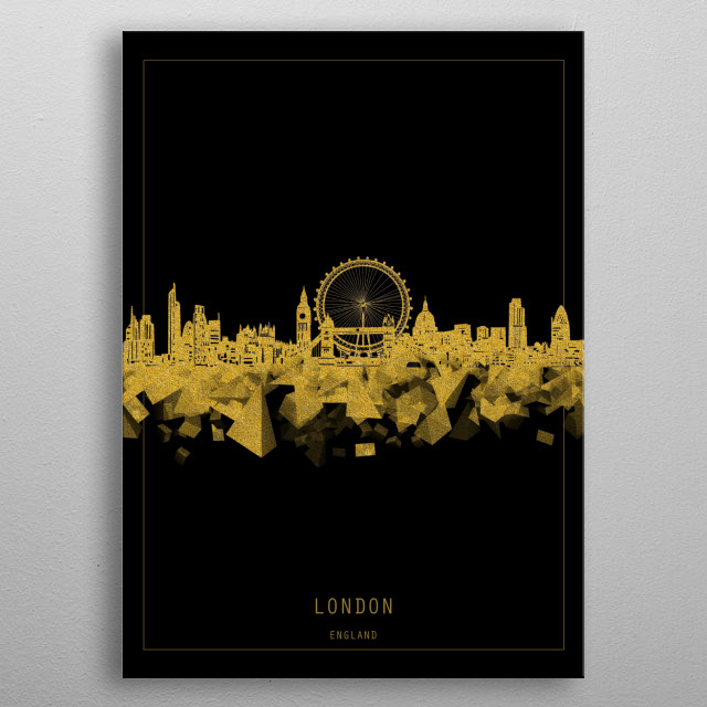 London skyline inspired by decorative,minimal,gold and black,pop art design metal poster