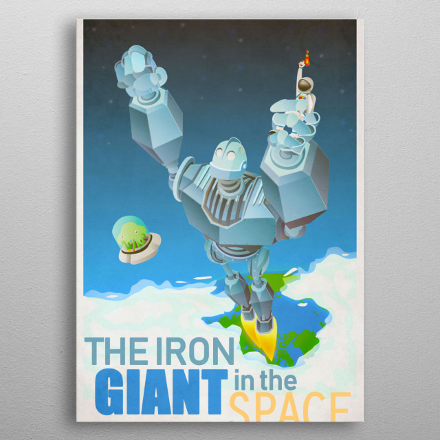 Illustration about the best warner movie : the iron giant. ViNTAGE POSTER ABOUT the iron giant .  metal poster
