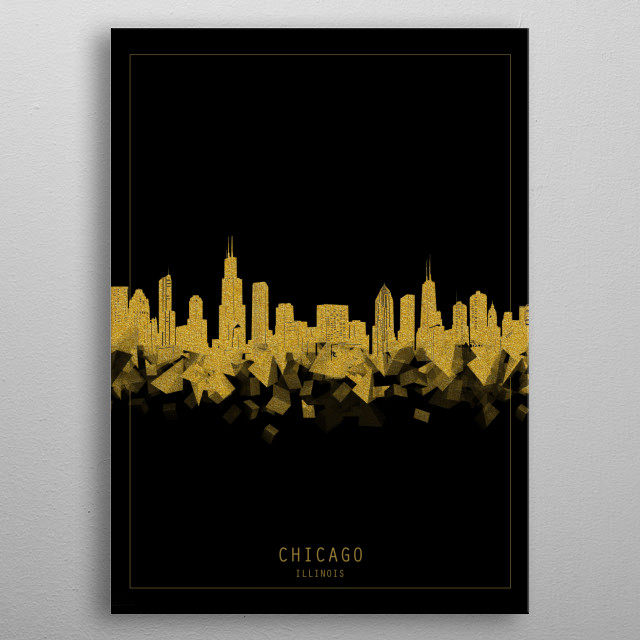 Chicago skyline inspired by decorative,minimal,gold and black,pop art design metal poster