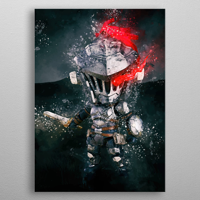 Chibi Goblin Slayer from manga and anime with the same name, fanart tribute metal poster