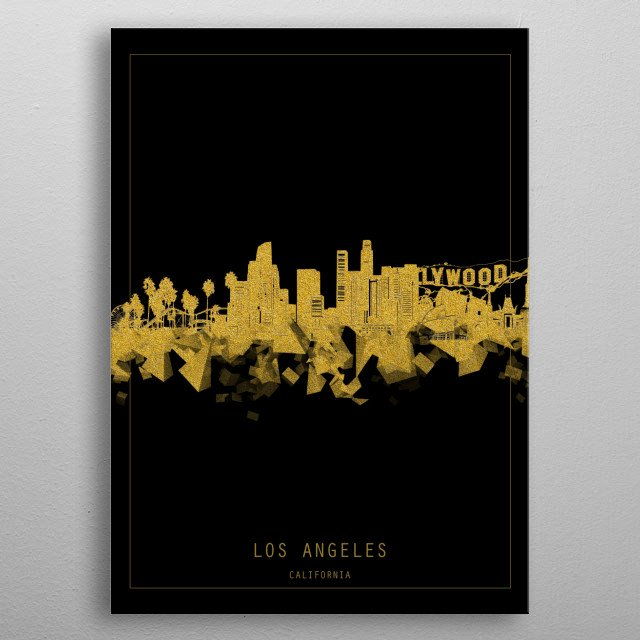 Los Angeles skyline inspired by decorative,minimal,gold and black,pop art design metal poster
