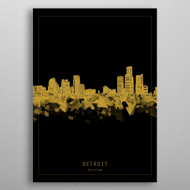 Detroit skyline inspired by decorative,minimal,gold and black,pop art design metal poster