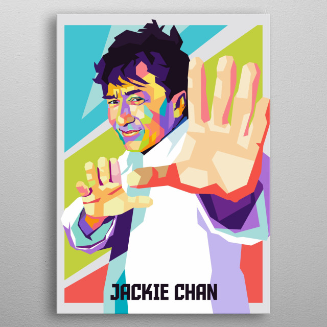 Jackie chan an action actor in wpap popart metal poster