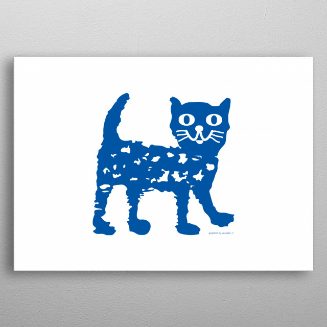 Cute and modern drawing of a navy blue cat. Nice design for children, for kid's room. All rights reserved. metal poster