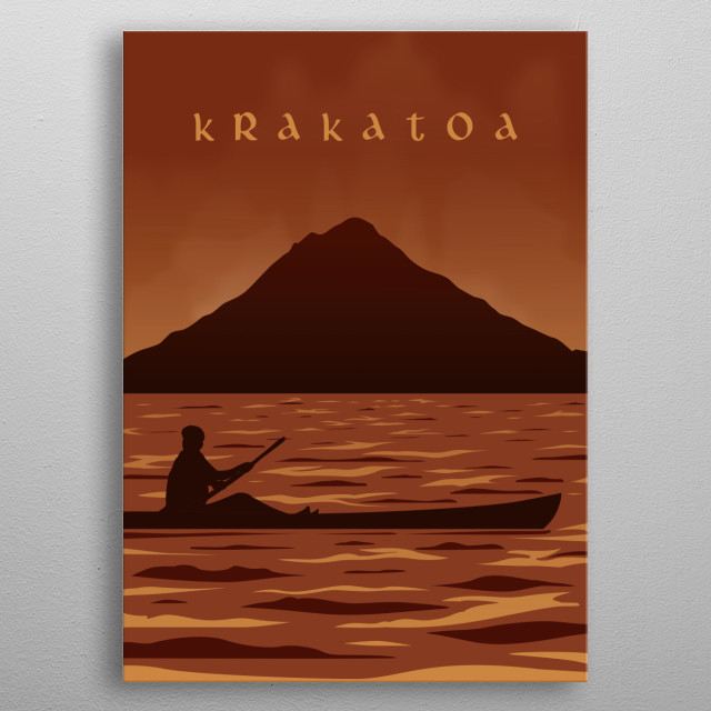 This artwork inspired by big eruption history of krakatoa mountain at 1883 metal poster