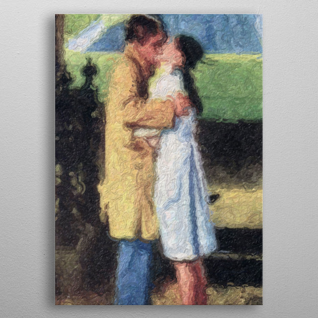 An impressionistic image of a man and woman kissing. metal poster