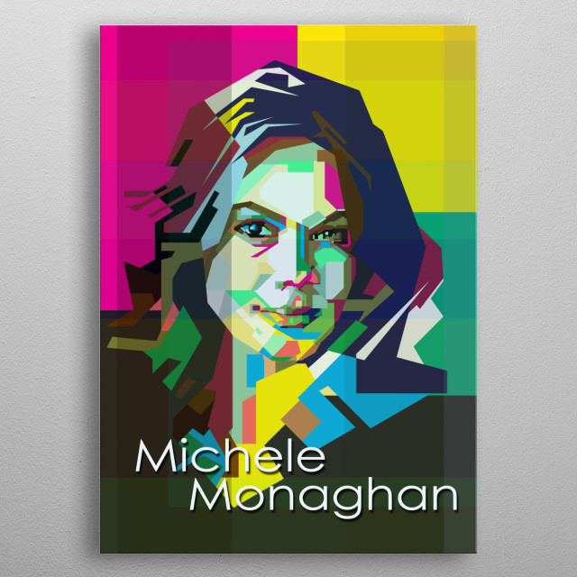 Michele Monaghan Hollywood actress , populer on Mission Impossible Movies with Tom Cruise.. in WPAP art style metal poster