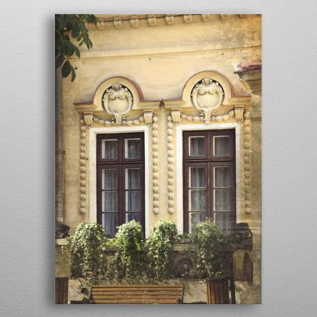 Eclectic windows in Bucharest, Romania metal poster