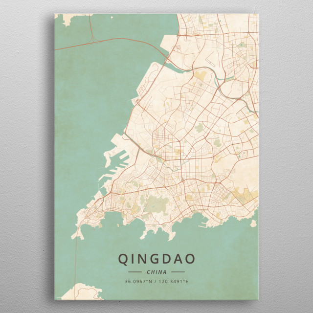 Qingdao, China metal poster