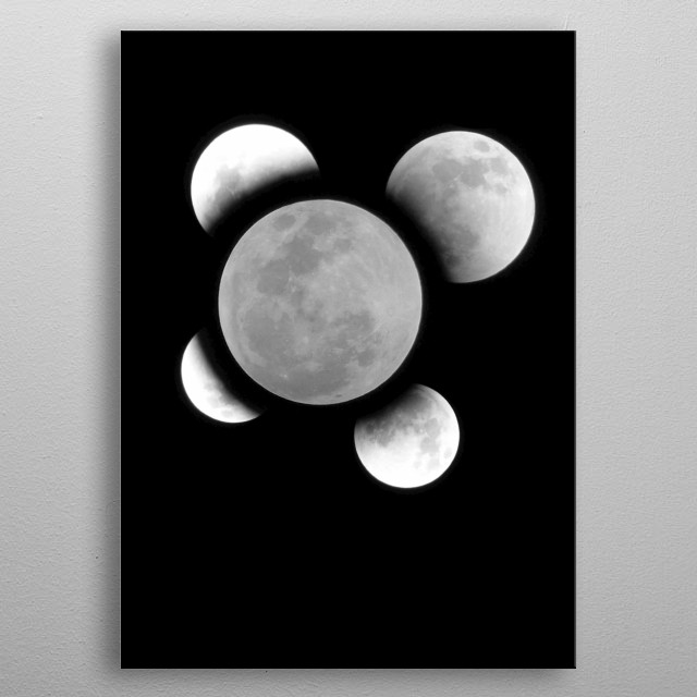 Hello! This art is made with four photograph, I took to the moon of July, It was a magnificent event to see and live. Hope you enjoy it too! metal poster