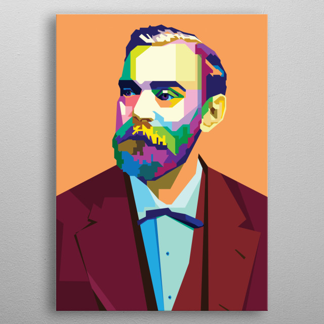 Alfred Bernhard Nobel was a Swedish chemist, engineer, inventor, businessman, and philanthropist.  metal poster