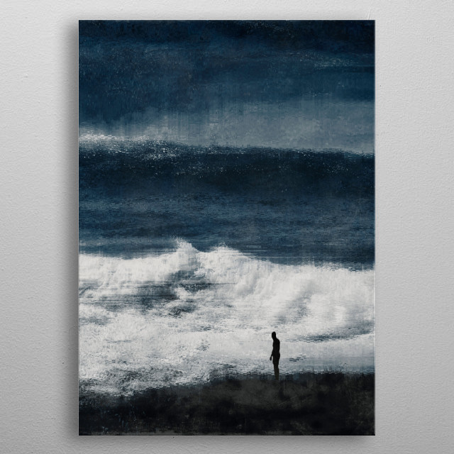 Silhouette of a man in front of an mighty incoming wave at a beach on the French Atlantic coast - abstract photography metal poster