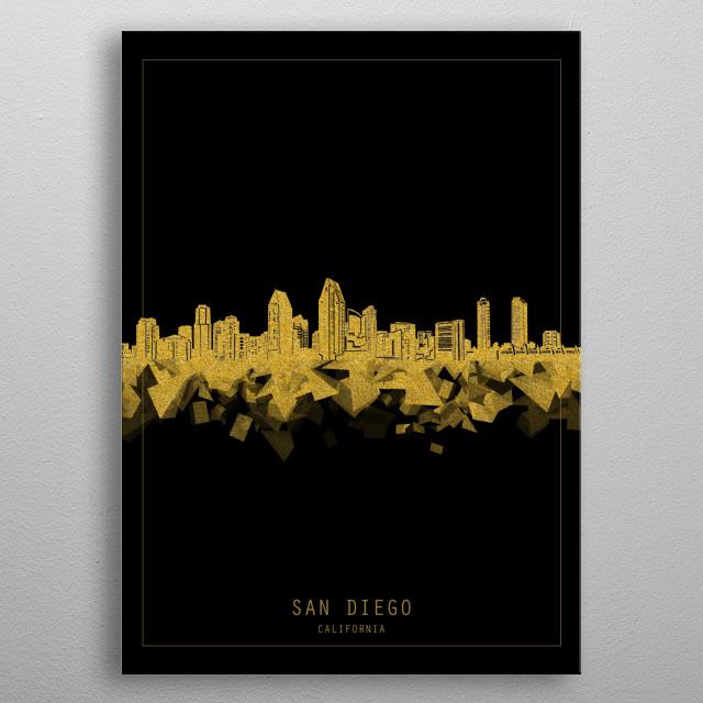 San Diego skyline inspired by decorative,modern,gold and black,minimal pop art design metal poster