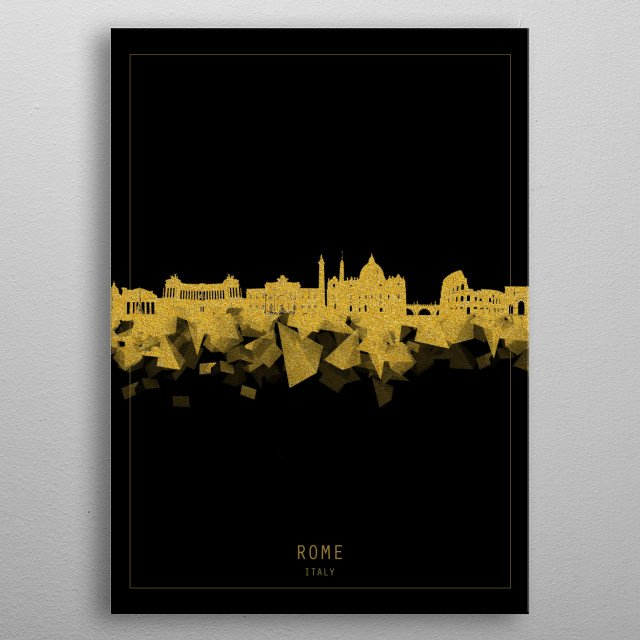 Rome skyline inspired by decorative,modern,gold and black,minimal pop art design metal poster