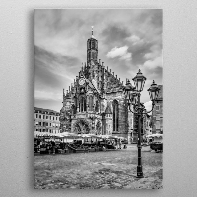 Nuremberg is one of the oldest cities in Germany. The Gothic Church of Our Lady is situated on the eastern side of the main market.  metal poster