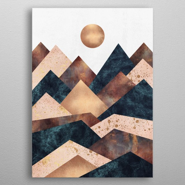 Digital graphic landscape inspired by the colors of autumn. metal poster