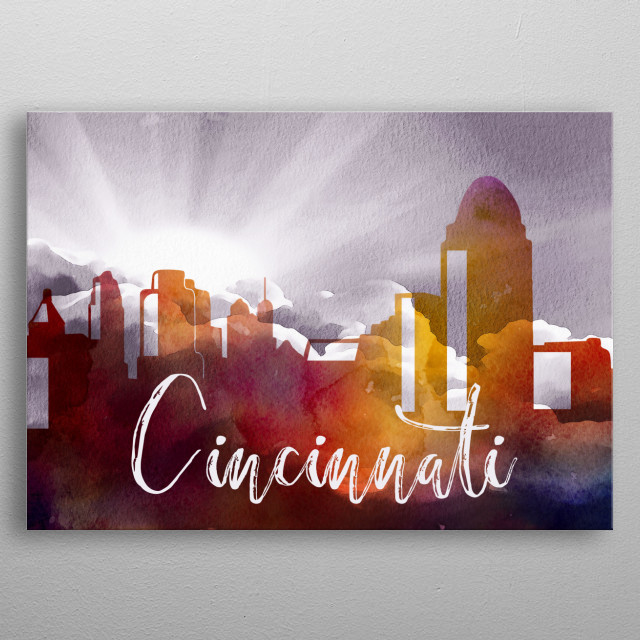 This is a colorful representation of the vibrant city of Cincinnati in the USA. It has a sunburst sky and a colorful watercolor skyline. metal poster