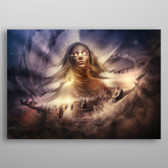 An Illustration Of A Divine Entity Creating Everything That Makes The Universe What It Is Today. metal poster
