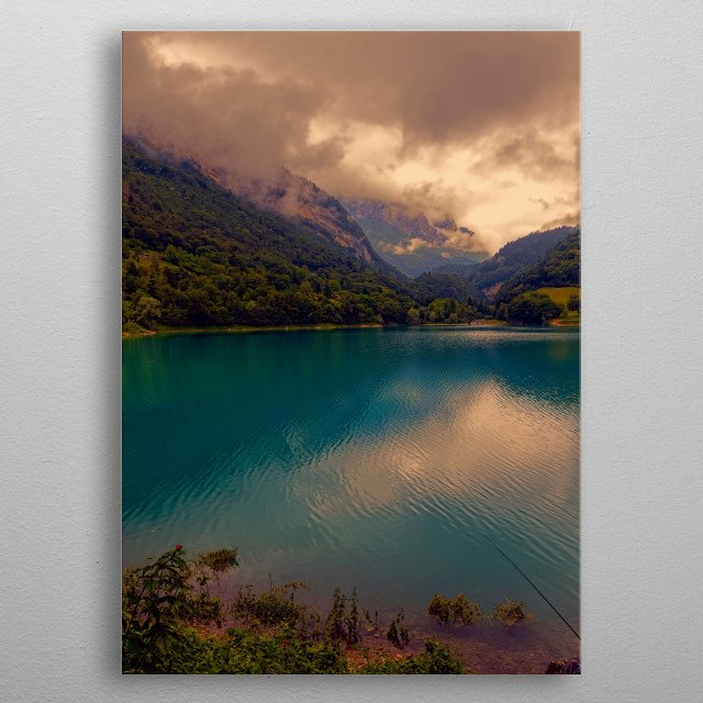 landscape blue lake in the mountain metal poster