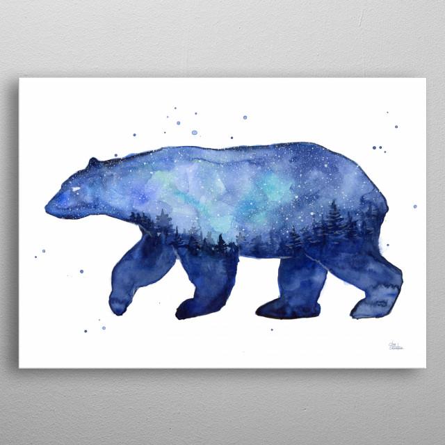 Galaxy Bear Silhouette By Olga Shvartsur Metal Posters