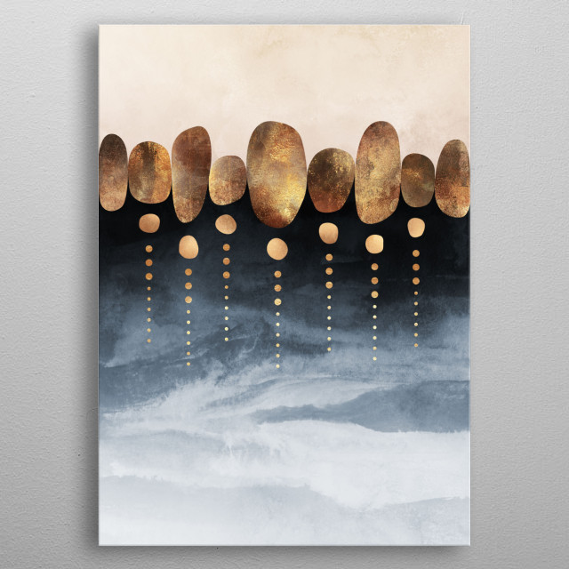 Digital graphic mixed with watercolor. metal poster