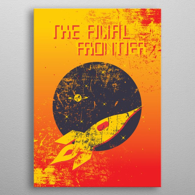 Retro inspired space themed poster metal poster