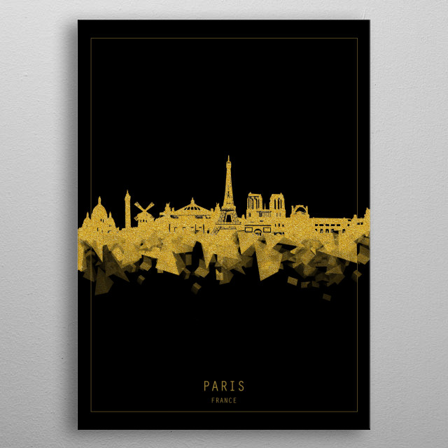 Paris skyline inspired by decorative,modern,gold and black,minimal pop art design metal poster