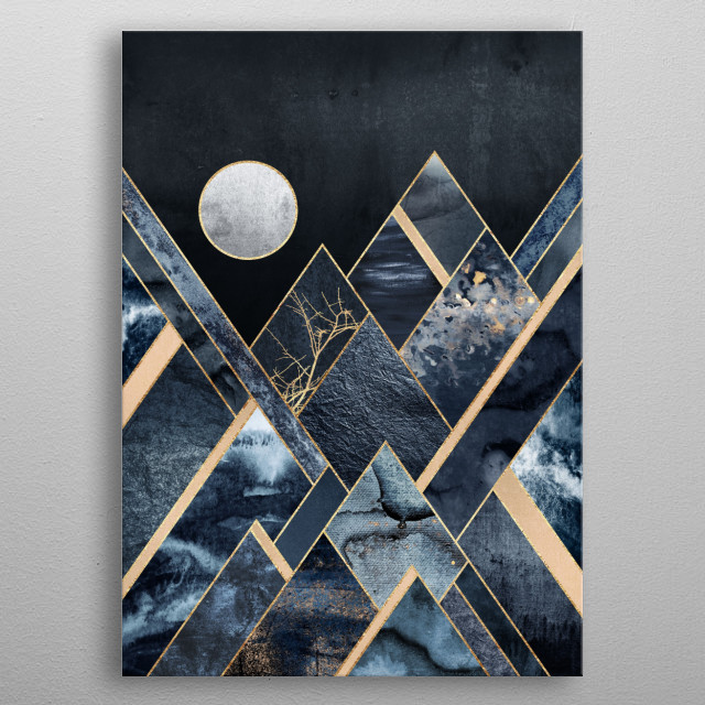 Digital graphic landscapes mixed with different kinds of paint. metal poster