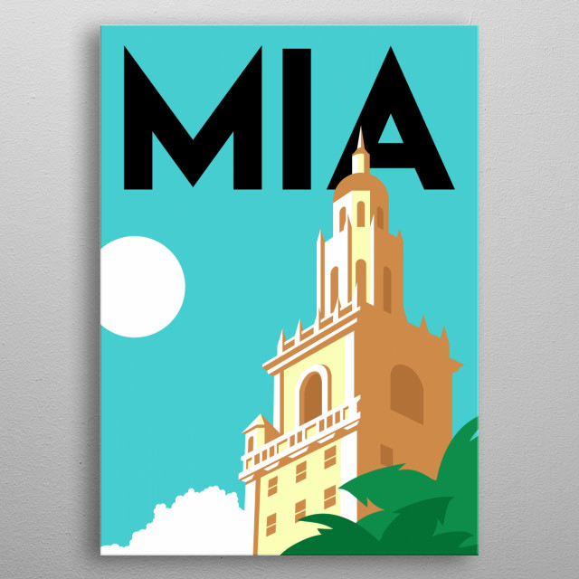 Rising tall above the palm trees and ocean surf is the Freedom Tower in Miami, Florida.  metal poster