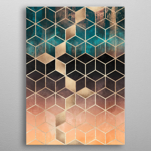 Digital graphic mixed with paintings. metal poster