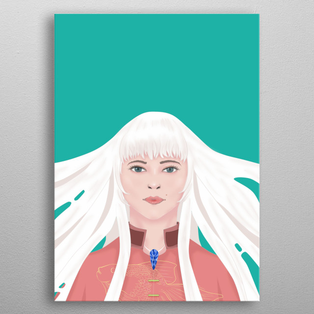 White Haired woman metal poster