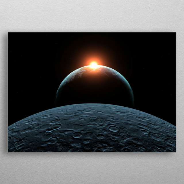 High resolution rendered scene inspired by 2001 - A Space Odyssey metal poster