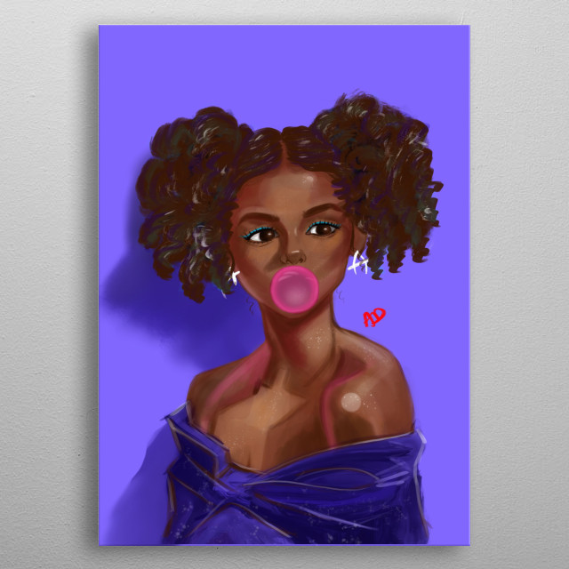 Illustration of the brown girl exuding confidence and sexy appeal. metal poster
