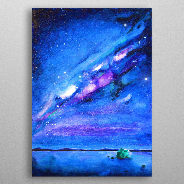 Watercolor Painting inspired by Nordic Night Skies metal poster