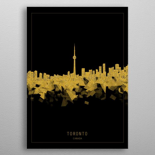 Toronto skyline inspired by decorative,modern,gold and black,minimal pop art design metal poster