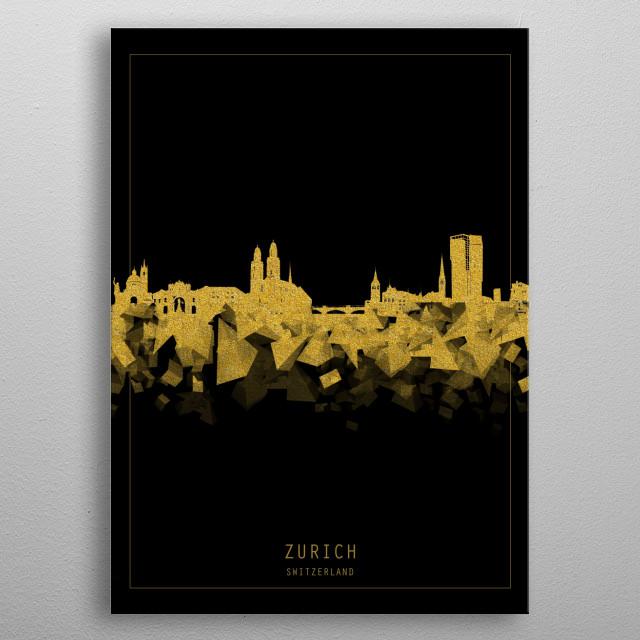 Zurich skyline inspired by decorative,modern,gold and black,minimal pop art design metal poster