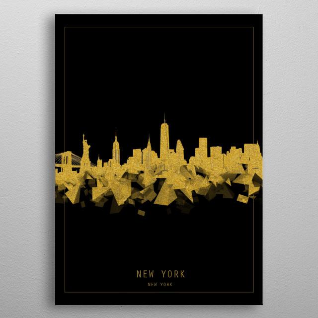 New York  skyline inspired by decorative,modern,gold and black,minimal pop art design metal poster