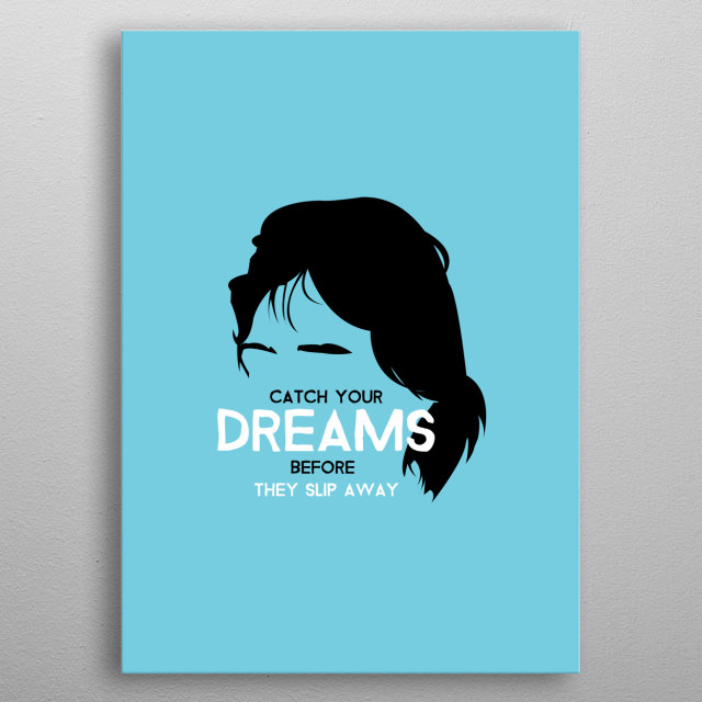 Mick Jagger of the Rolling Stones on Cyan with a quote from the song Ruby Tuesday. metal poster
