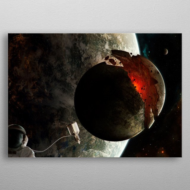 A moon destroyed by the gravity of its home planet.  metal poster