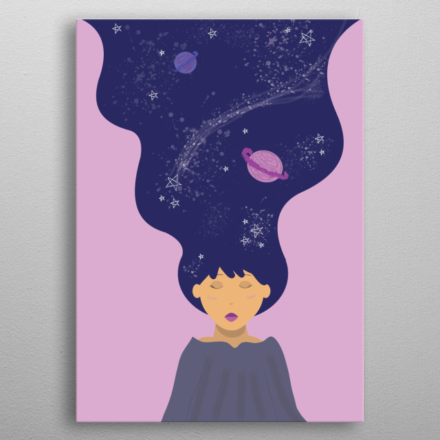 A conceptual illustration of a girl sleeping with her mind drifting off to space (characterized with her hair). metal poster