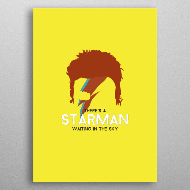David Bowie / Ziggy Stardust on Yellow. Starman Lyrics metal poster